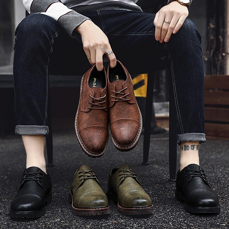 2019 Autumn New Men Shoes Classic Men Dress Shoes Leather Wedding Shoes Men Formal Flats Business Sneakers