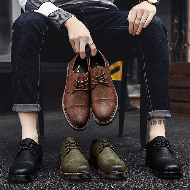 2019 Herfst Nieuwe Mannen Schoenen Klassieke Mannen Jurk Schoenen Lederen Bruiloft Schoenen Mannen Formele Flats Business Sneakers