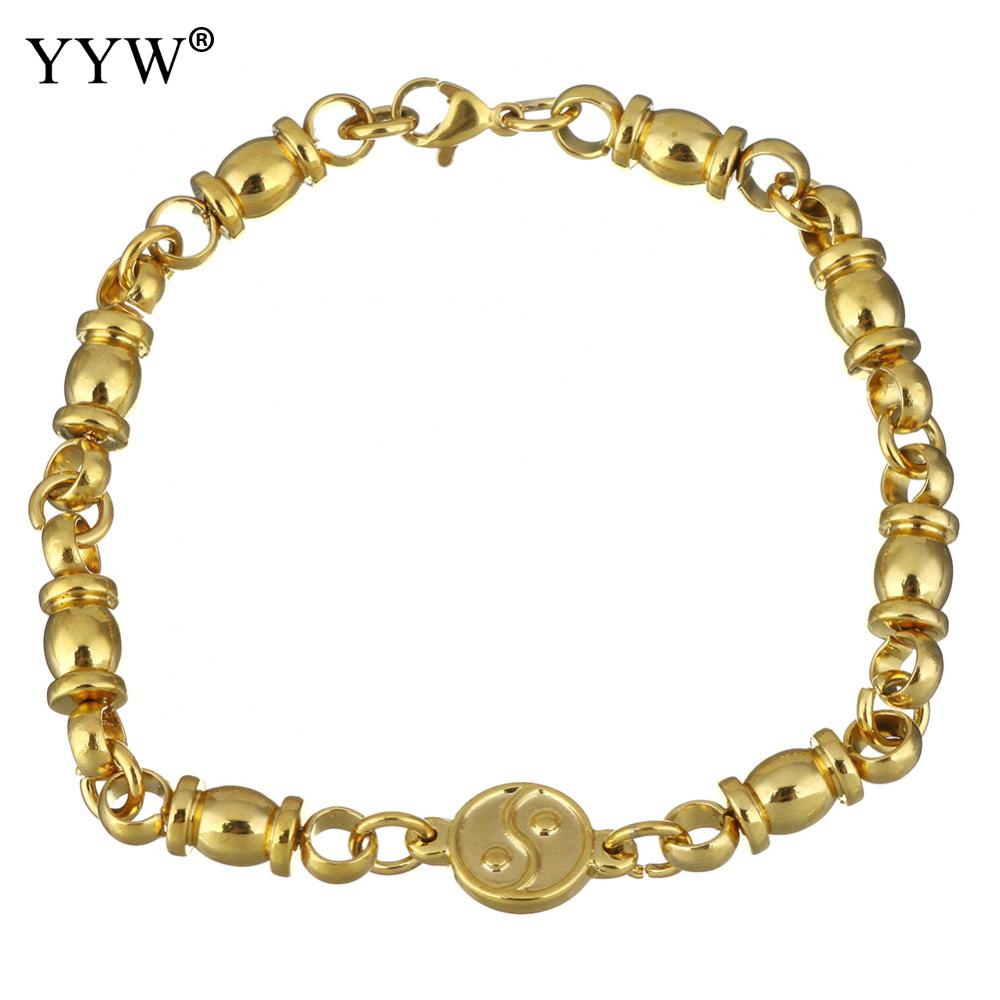 Stainless Steel Jewelry Bracelet gold color plated for woman 16.5x10.5mm 20x6mm Sold Per Approx 8 Inch Strand