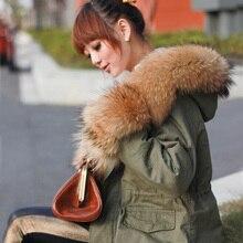 2017 New Arrival Large Real Raccoon Fur Collar Green Winter Jacket Women's Plus Size Sheep Velvet Warm Winter Overcoats
