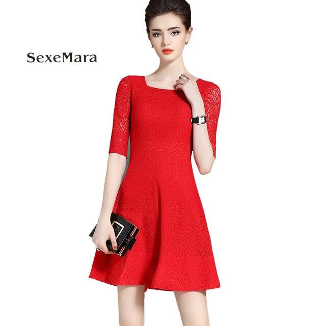 e408e65a6e 2017 Outono vestido novo Código Grande Europeu e Americano moda feminina  Magro Mulher vestido de Renda