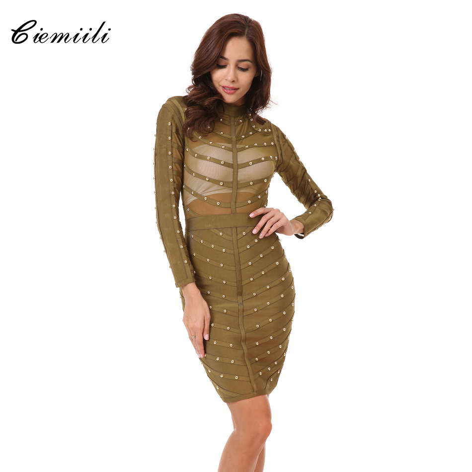 CIEMIILI 2017 Women Sexy Evening Party Bodycon Dress Mesh Knee-length Celebrity Long Sleeve Bandage Dress Vestidos Free Shipping