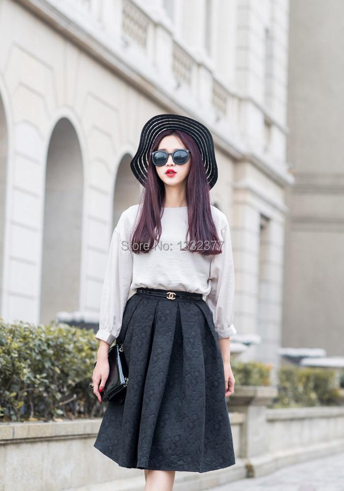 Aliexpress.com : Buy A Line Flare Pleated Saias Femininas Fashion ...