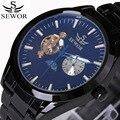 Sewor2018 Топ бренд 24 часа автоматические мужские часы черная сталь многофункциональные турбийоны механические часы Роскошные reloj hombre