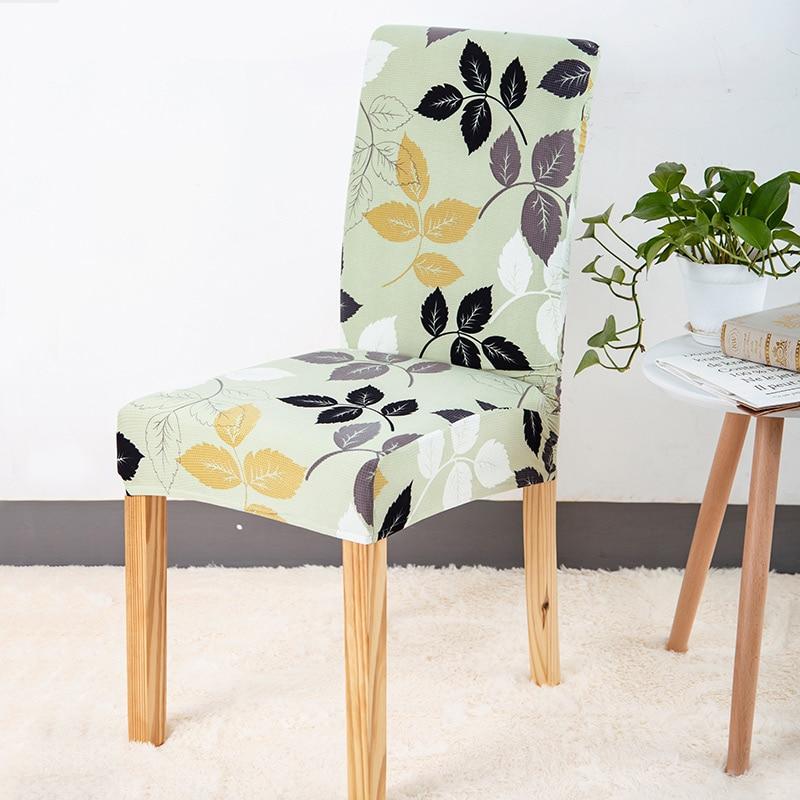 Stole Cover Modern Style Blomstret Trykt Universal Spandex Stretch Kort Aftageligt Elastisk Tøj Stole Omfatter Banket Style