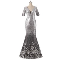 Newest Luxury Fashion Mermaid Trumpet Half Sleeve V Neck Back Open Sequin Long Gold Silver Evening