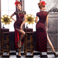 2017 Sexy Cheongsam Cotton Lace Hollow Out Dress Chinese Traditional Vintage Retro Vestidos Clothing