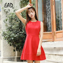 EAD Sexy Sleeveless Summer Mini Dress Women Office Clothing Casual High Waist Elegant Red Dresses Female Chic Bow Tank Vestido