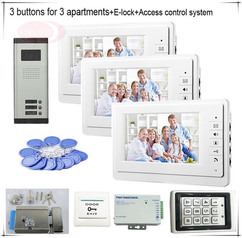 3 Пуговицы Цвет видеодомофонов Системы s 3 ЖК-дисплей безопасности Дверные звонки для 3 квартиры + Система контроля доступа + E замок-