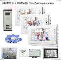 3 düğmeler Renkli Görüntülü Kapı Telefonları Interkom Sistemleri 3 LCD Güvenlik Kapı Zili 3 Daire için + Erişim Kontrol Sistemi + e-kilit