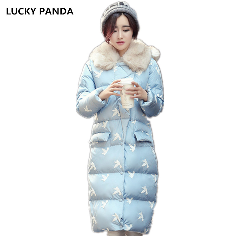 Lucky Panda 2016 The new winter bird fur collar embroidery big slim hooded feather padded coat LKP246 lucky panda 2016 the new winter coat and female slim in the long and small lattice fragrant cotton lkp243
