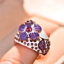 Boho Female Rose Flower Ring Vintage Rose Gold Color Purple