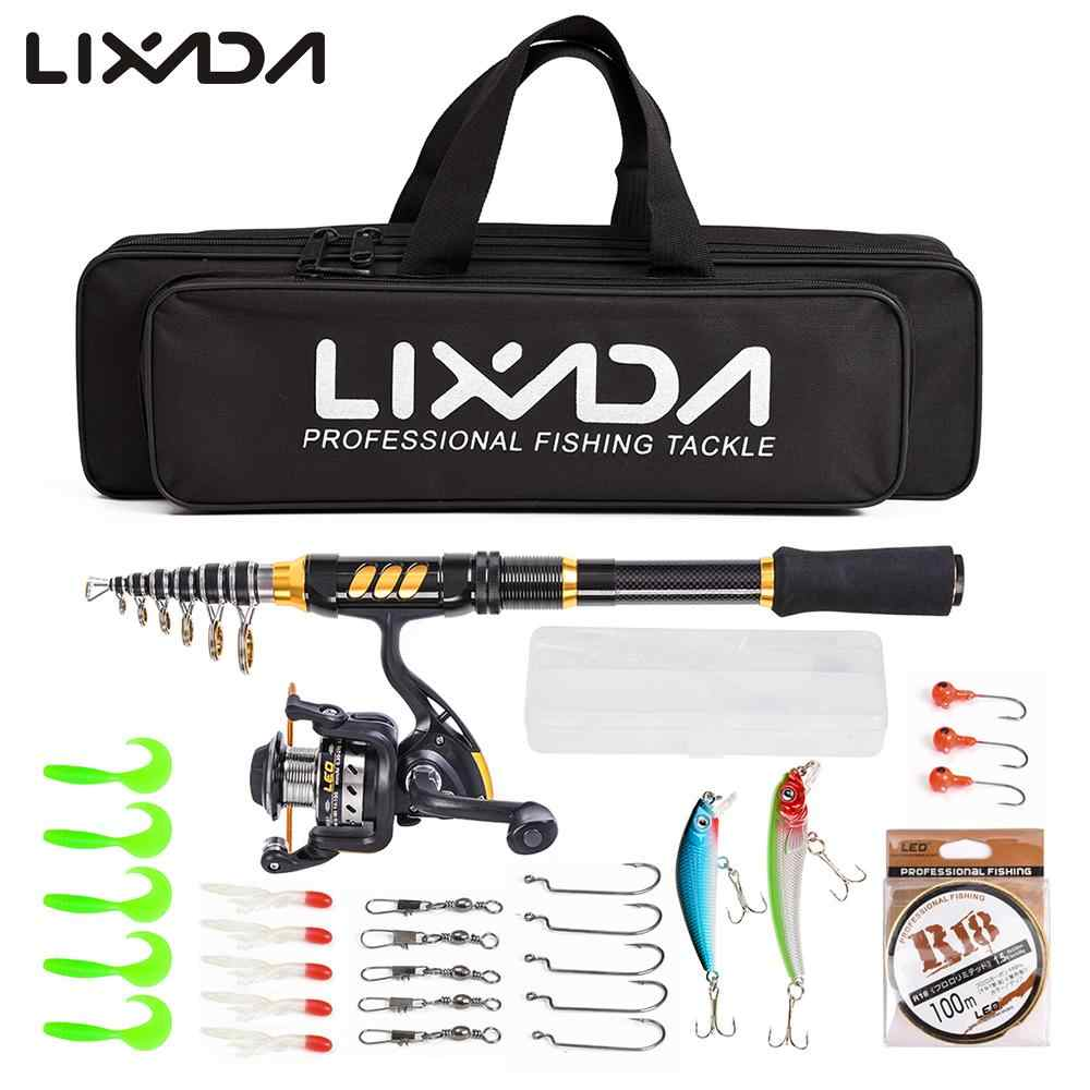 Lixada Telescopic Fishing Rod Reel Combo Full Kit Spinning Reel Gear Pole Set with 100M Line Lures Hooks Bag Fishing Accessories