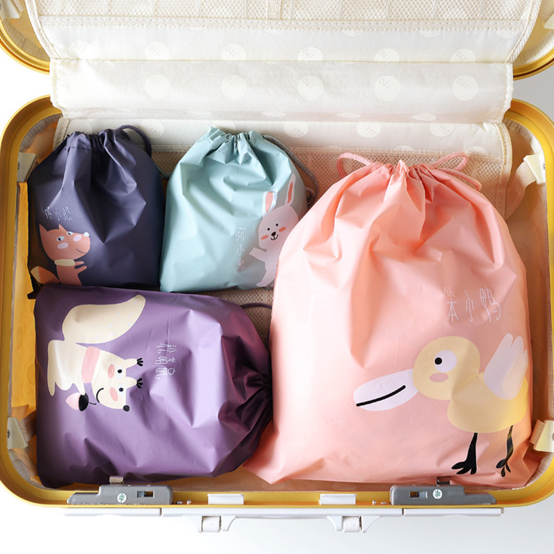 1pc Cartoon Waterproof Travel Storage Bags Children Baby Toys Clothes Organizer Mini Drawstring Bag Home Organization