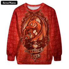 Dragon Pokemon Printed Sweatshirt Fitness Pullover
