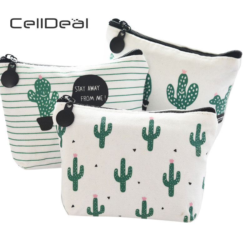 CellDeal High Quality Canvas Coin Purse Female Student Mini Cactus Little Fresh Coin Pack Short Patterns Zipper Small Wallet