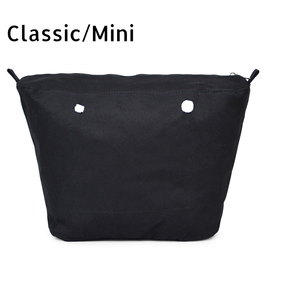 New Inner lining Insert Zipper Pocket For Classic Mini Obag Canvas insert with inner waterproof coating