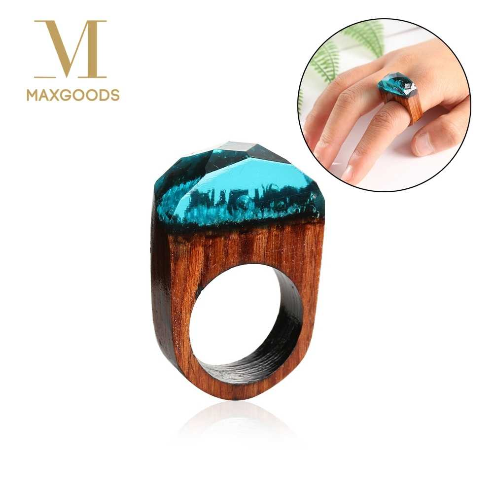 1Pcs Fashion Resin Wooden Magic forest Rings Sky Blue Creative Handmade Rings for Women Chic Jewelry