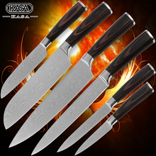 Chef slicing 2*santoku utility paring kitchen knives stainless steel knives Damascus veins blade durable sharp new cooking tools