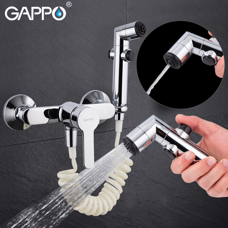 цена Gappo portable bidet faucet bidet sprayer hand shower chrome Bathroom bidet shower set Shower faucet toilet bidet spray ABS wall