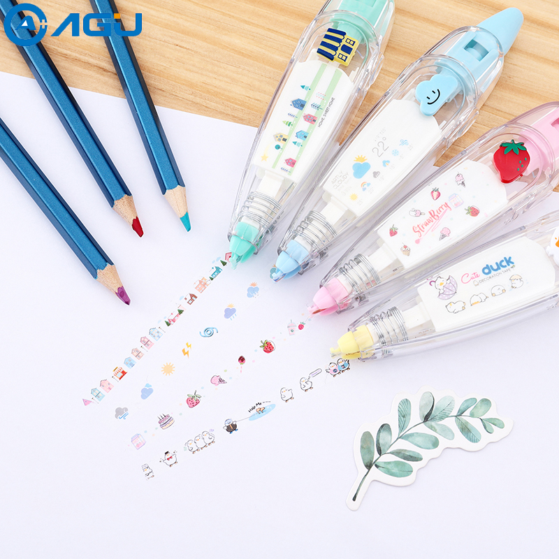 AAGU 1PC Plastic Cute Animal Cartoon Cartoon Correction Tape Stickers Office Supplies Press Type Kawaii Tape Decorative Tape