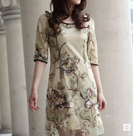2014 summer dress new style ladies ' silk organza embroidery t commute waist slim fit plus size dresses - Hongli Tan's store