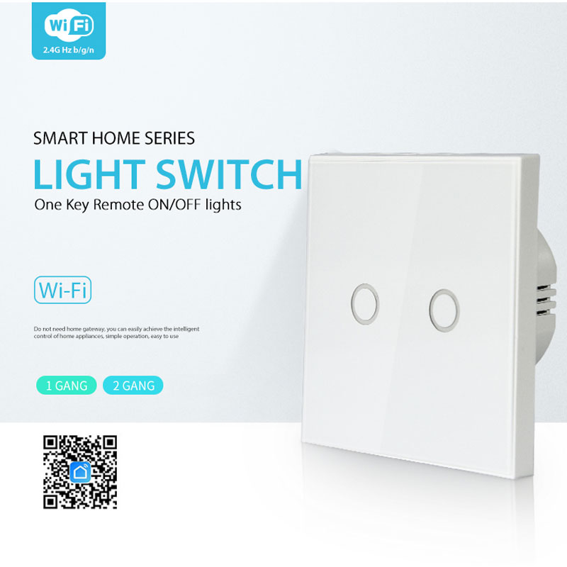 NEO WiFi Wall Touch Switch 2 Gang Glass Panel Wall Light Switch Tuya Smart Life APP Control