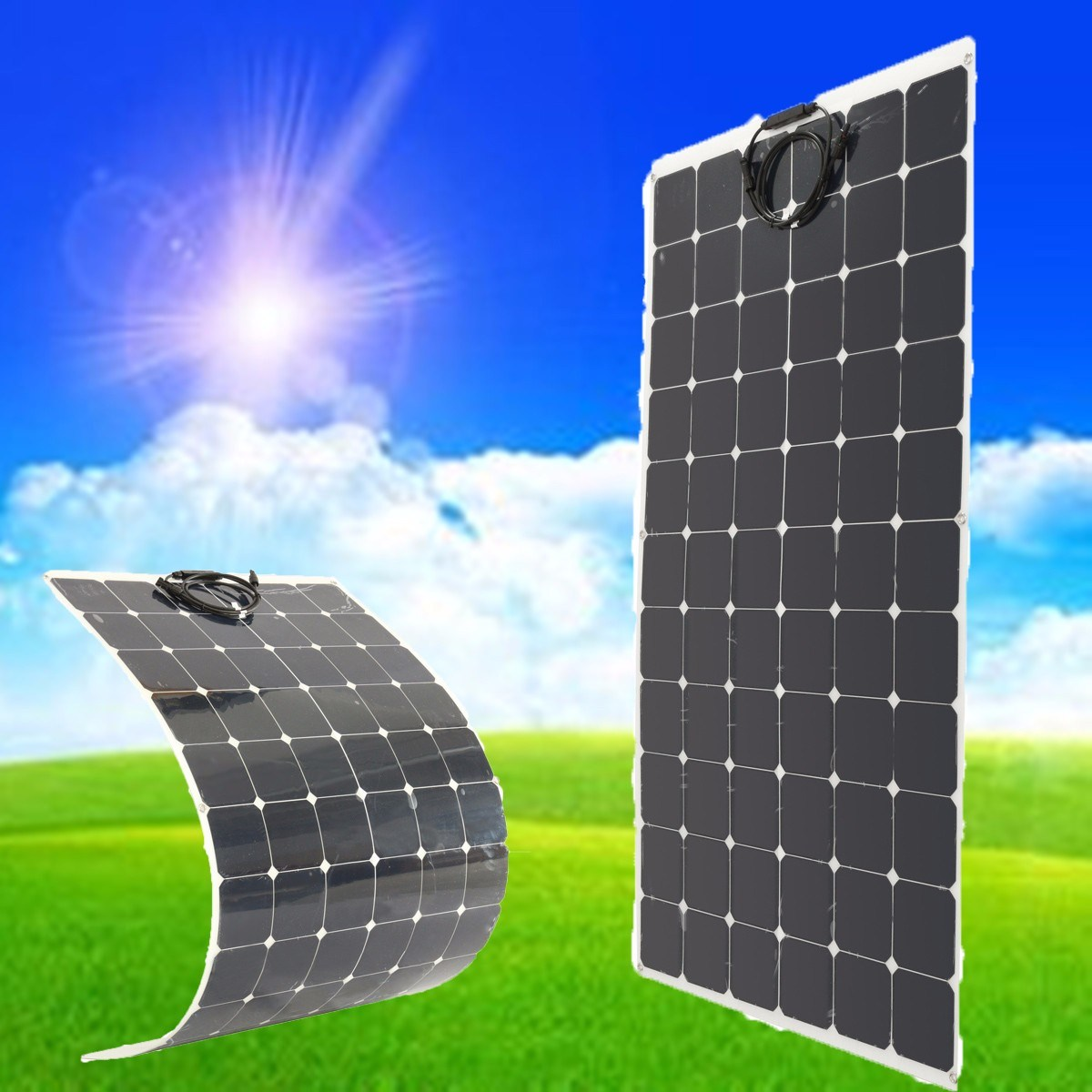 BSP 66-200 200W 18V Semi Flexible Monocrystalline Solar Panel Waterproof High Conversion Efficiency Solar Panel + 1.5m Cable 50w 12v semi flexible monocrystalline silicon solar panel solar battery power generater for battery rv car boat aircraft tourism