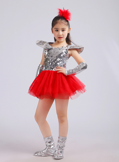 b1a02c21e New Kids Sequins Jazz Dancing Dresses Costumes Show Performance Outfit for  Christmas Wear