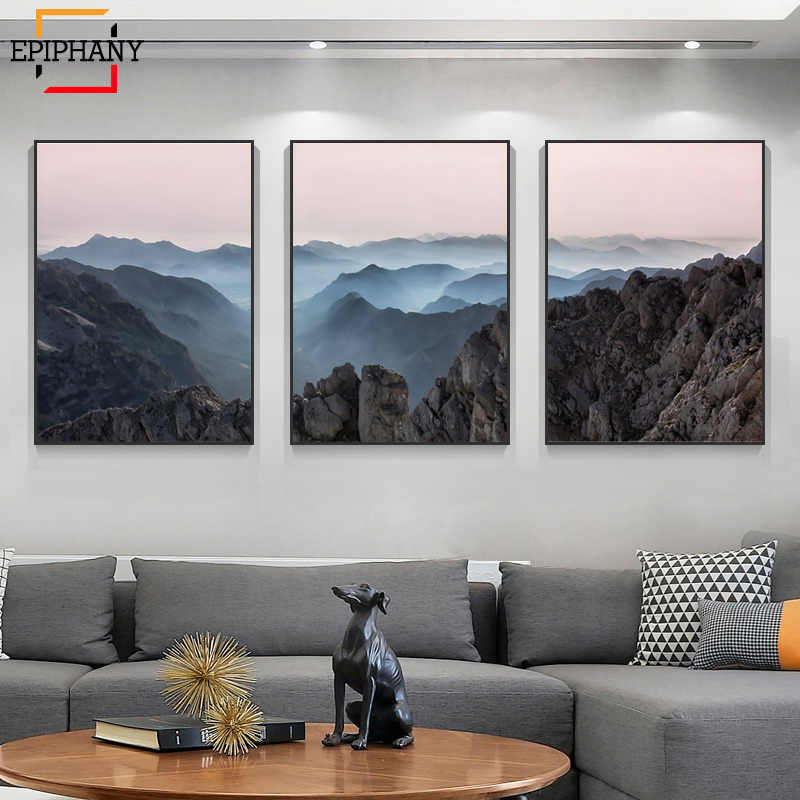 Modern Mountain Prints Wall Art Nature Landscape Canvas Paintings Scandinavian Painting Picture for Living Room Home Decor