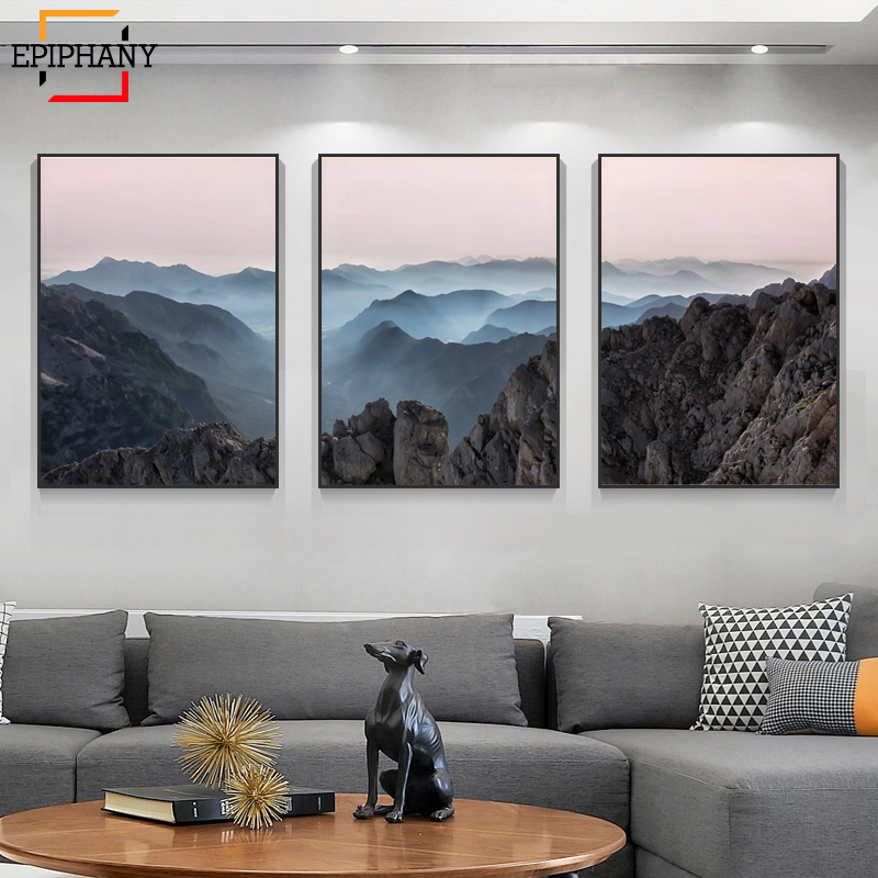 Modern Mountain Prints Wall Art Nature Landscape Canvas Paintings Scandinavian Painting Picture for Living Room Home Decor title=