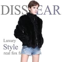 Real Fox Merino Sheep Coat Fur Full Sleeve Casual Women Natural Black Fur Leather Jacket Overcoat Lady Mandarin Collar Coats