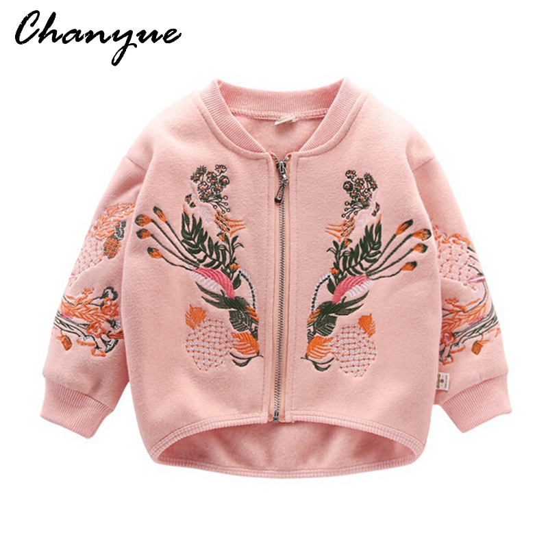 Chanyue kids girls jacket coat embroidery