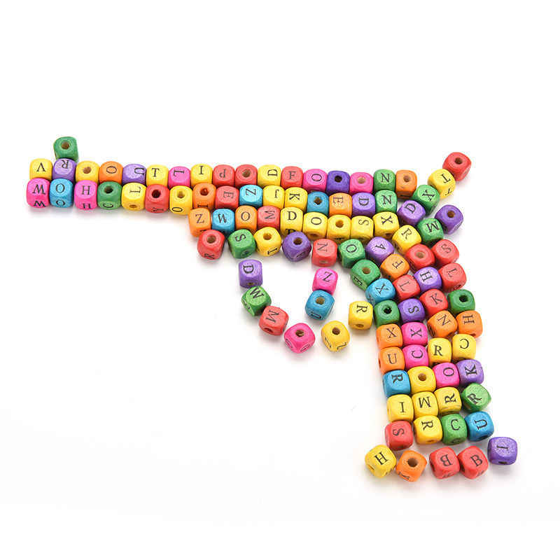 100 шт/набор Дети DIY смешанные бусины кубики с буквами красочные буквы алфавита деревянные бусины Квадратные бусины россыпью Дети Обучающие игрушки