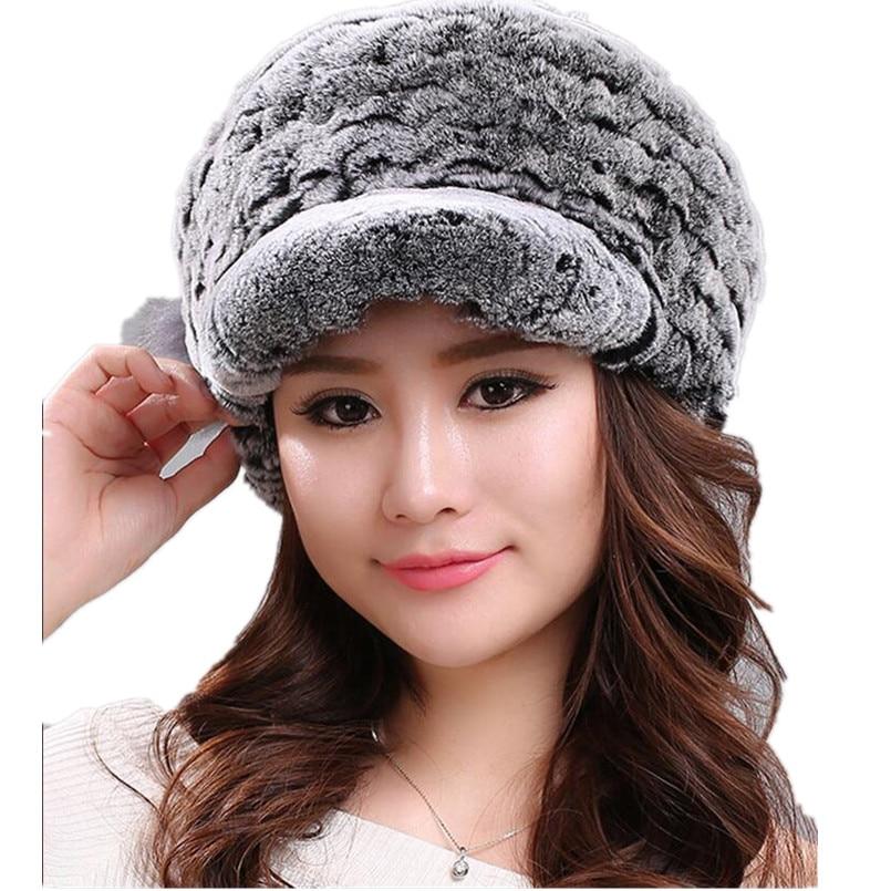 Casquette de baseball avec fourrure de lapin rex naturel casquette drôle nouveau design hiver chaud tricoté femme mode casquettes moelleux femmes chapeau H372