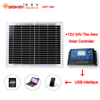 Dokio Brand 10W Black Solar Panel China +10A 12V 24V Solar Controller With USB Interface Charger Regulator 10 Watt Solar Battery