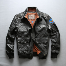 ec8bf0374 AVIREX FLY 2018 air force Flight Jackets Motorcycle Genuine Leather Jacket  Men cow Leather coat Fur