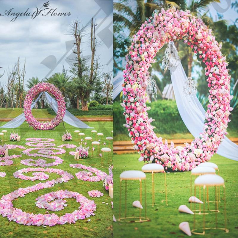 Diy Wedding Arch Ideas Circle: Wedding Silk Flower Circle Arch Make Up Whole Round