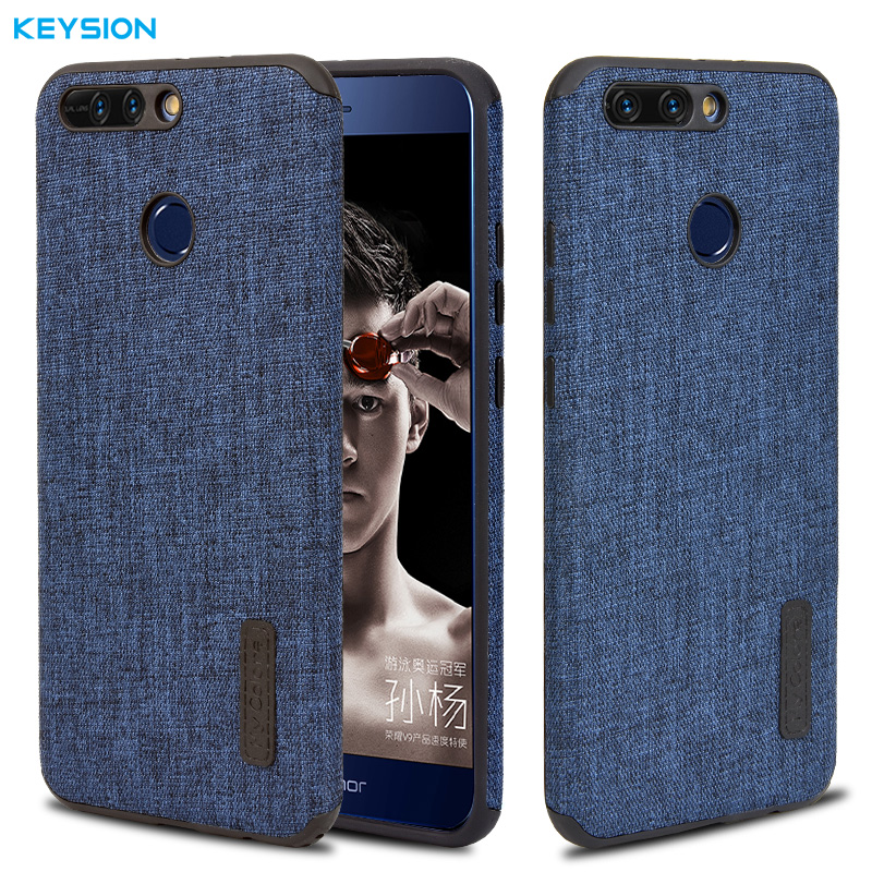 Keysion Case for Huawei Honor V9 Fashion Linen Cloth and TPU Silicone soft Anti-knock Cover for Huawei Honor 8 Pro Lanyard shell