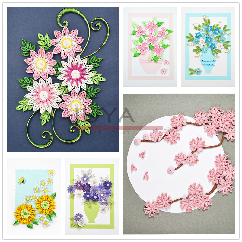 Paper Quilling Partially Prepared Products Suit Have Six Different Pieces Of Works About Flower