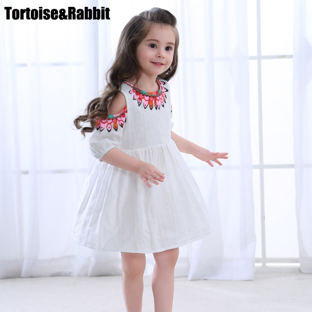 Summer Girls Off Shoulder Dress Child Girl A Line Dresses Kids Pure Color Flower Dress For Party Children Beach Dance Clothes gril flower dress multi storey white clothes stage girl performance children show clothes for dance with a pair of glove