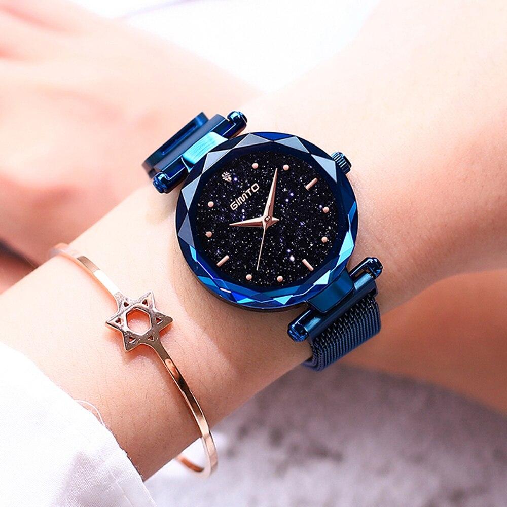 все цены на GIMTO Fashion Star Sky Women Watches Quartz Stainless Steel Clock Bracelet Rose Gold Lady Watch Crystal Female Luxury Wristwatch онлайн