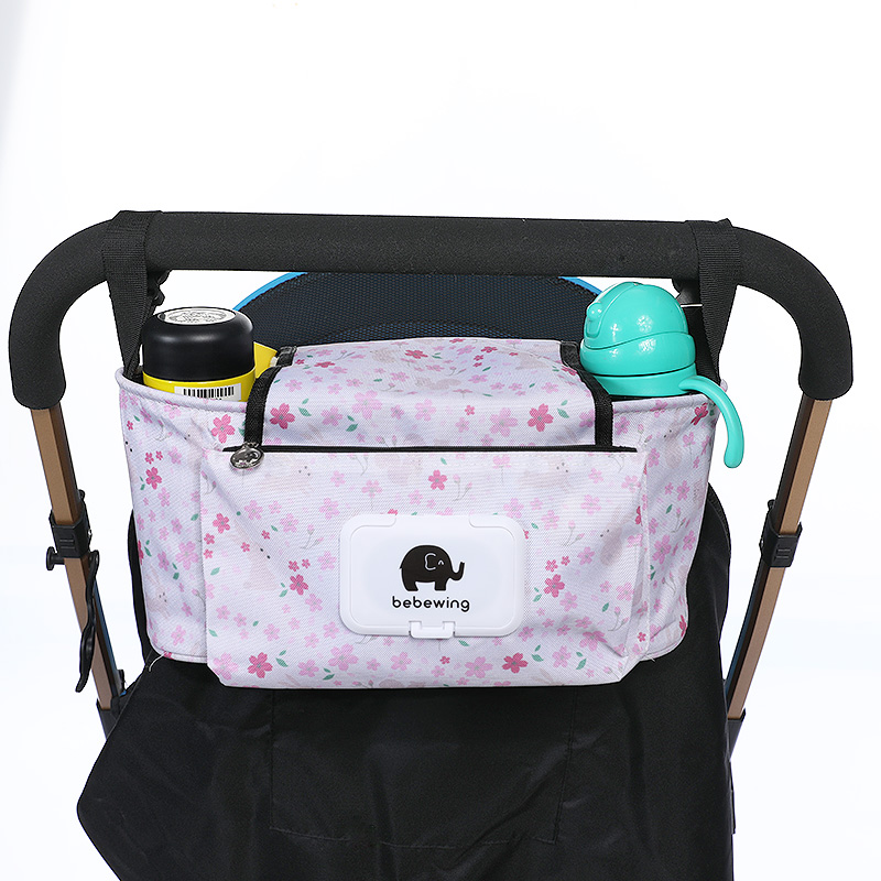 Multifunctional Baby Stroller Organizer Bag Hook Baby Carriage Hanging Storage Bag Cartoon Folding Elephant Travel Nappy Bag