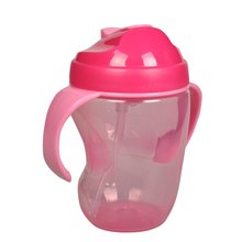 Baby Feeding Cup Baby Cup Kids Learn Feeding Drinking Water Straw Handle Bottle mamadeira Sippy Training Cup 260ml(China)