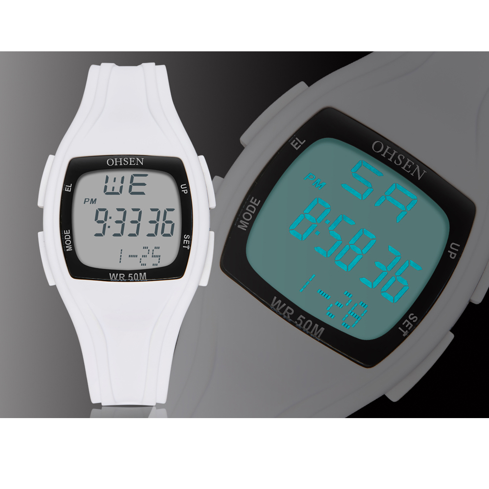 Relogio Feiminino New Square Sports Alarm LED Electronic Rubber Plastic Watch 50m Waterproof Women Digital Watch Female Clock