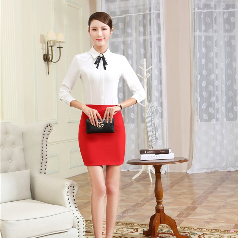 Ladies Office Formal OL Styles Skirt Suits With 2 Piece Blouses And Skirt For Women Business Work Wear Female Outfits Plus Size