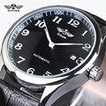 VENCEDOR Relógios Clássico Mens AUTO Data Relógio Mecânico automático Auto-Liquidação Analógica Esqueleto Homem relógio de Pulso de Couro Balck