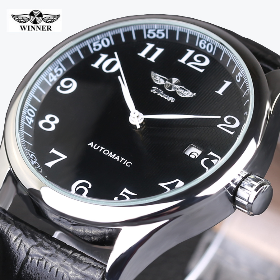 WINNER Watches Classic Mens AUTO Date automatic Mechanical Watch Self-Winding Analog Skeleton Balck Leather Man Wristwatch