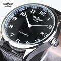WINNER Watches Classic Mens AUTO Date automatic Mechanical Watch Self-Winding Analog Skeleton Balck Leather Man Wristwatch