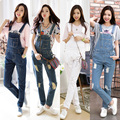 2017 NEW Fashion spaghetti strap jeans preppy style all-match hole denim suspenders trousers female